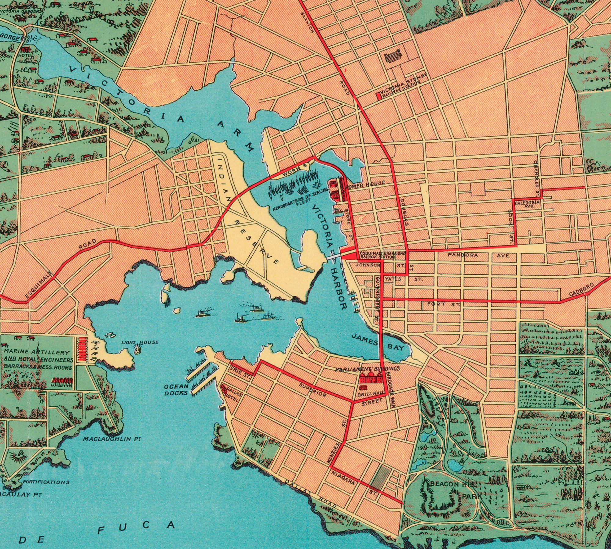 Victoria Streetcar Map 1902 – Downtown